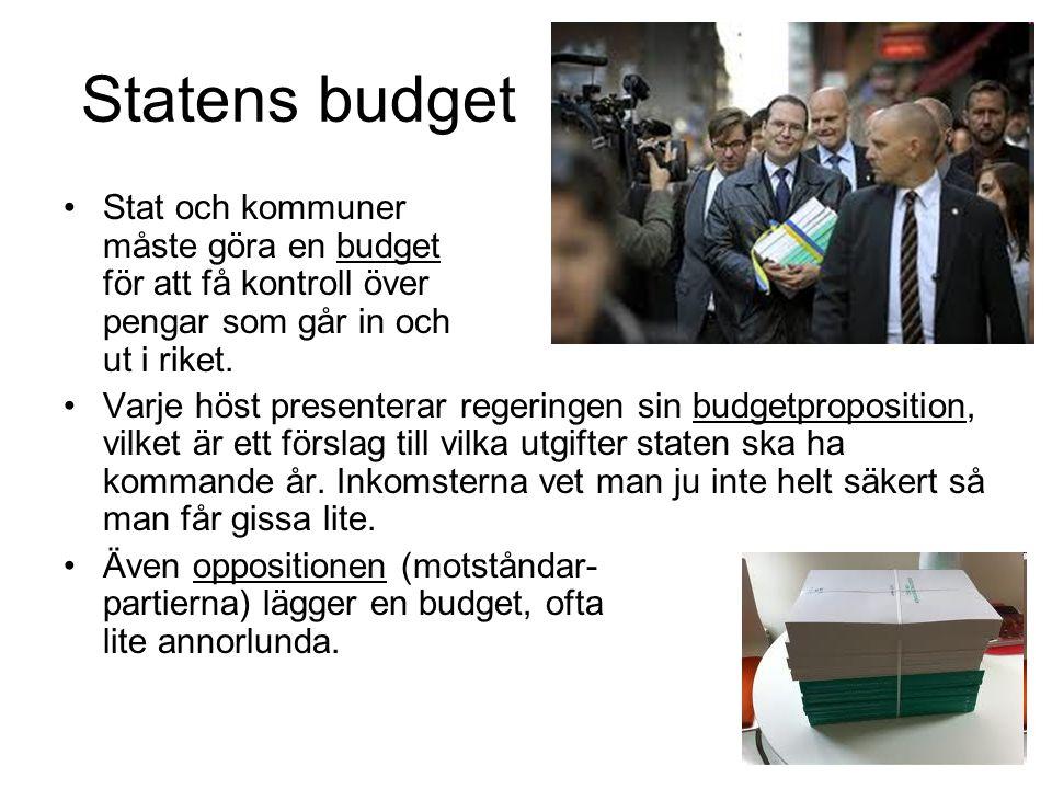 Statens budget Stat och kommuner måste göra en budget för att få kontroll över pengar som går in och ut i riket.