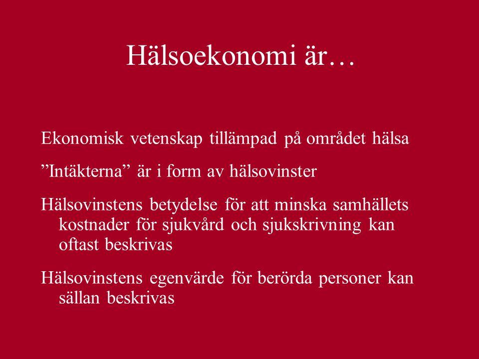 Hälsoekonomi är… Ekonomisk vetenskap tillämpad på området hälsa