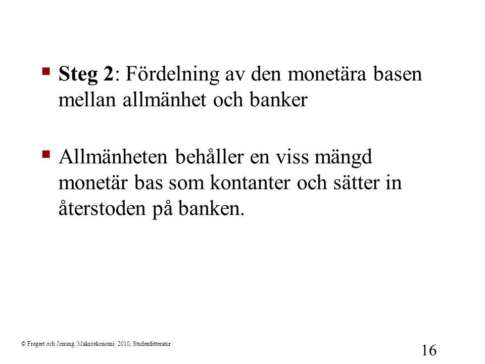 Steg 2: Fördelning av den monetära basen mellan allmänhet och banker