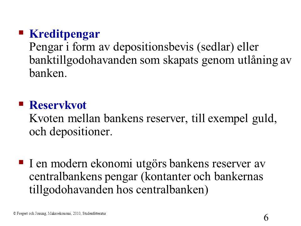 Kreditpengar Pengar i form av depositionsbevis (sedlar) eller banktillgodohavanden som skapats genom utlåning av banken.