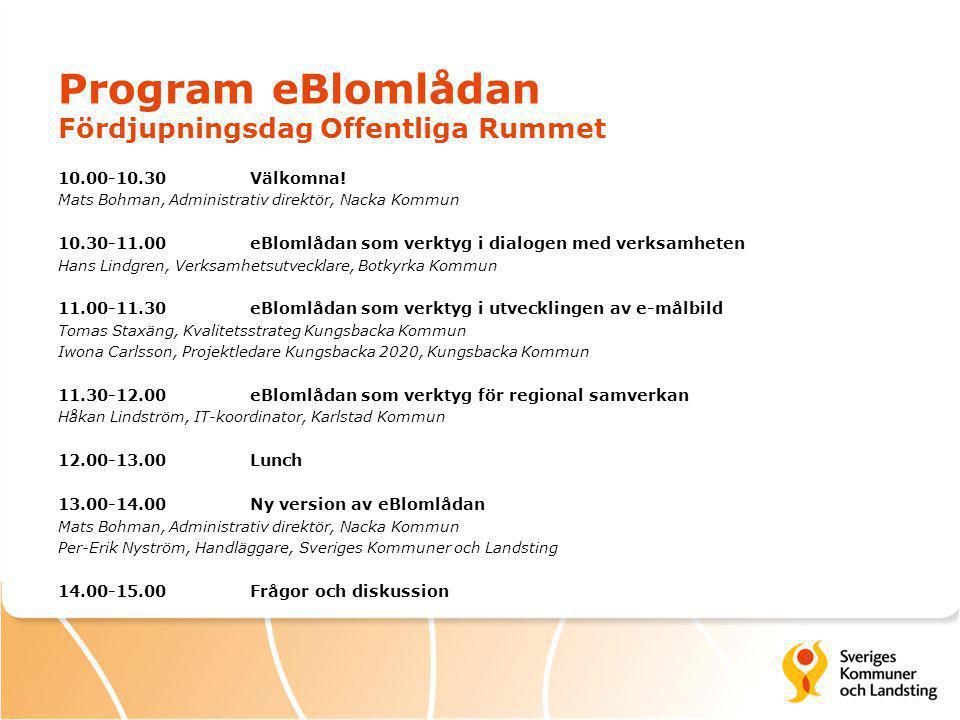 Program eBlomlådan Fördjupningsdag Offentliga Rummet