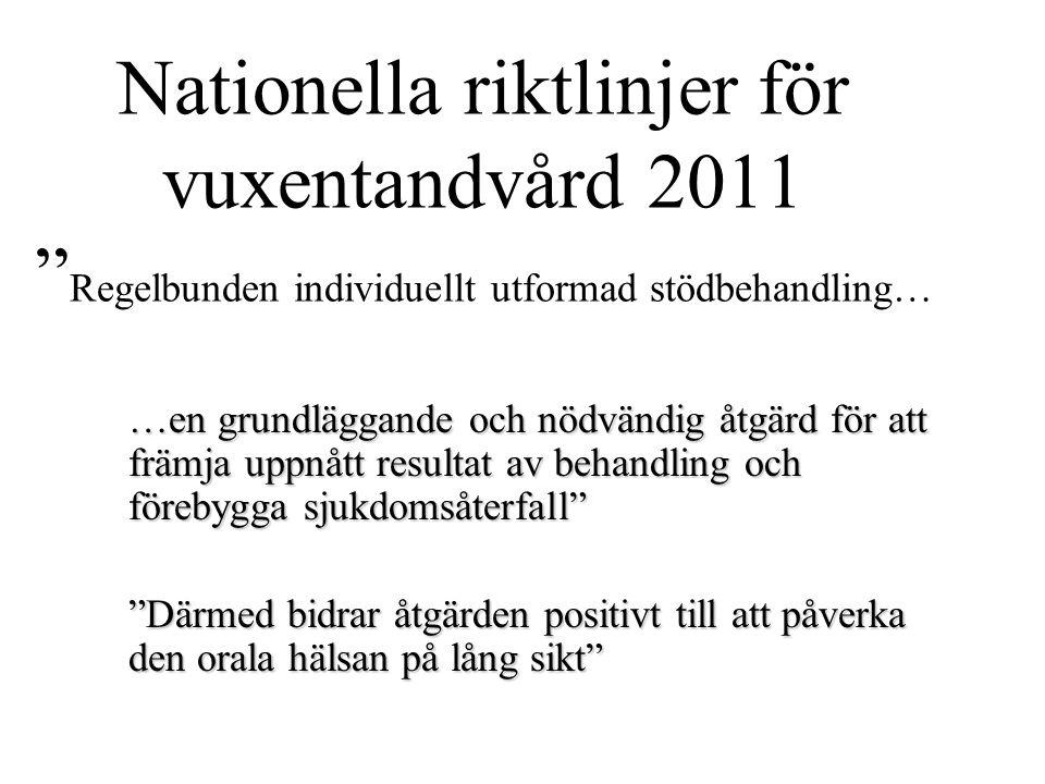 Nationella riktlinjer för vuxentandvård 2011 Regelbunden individuellt utformad stödbehandling…