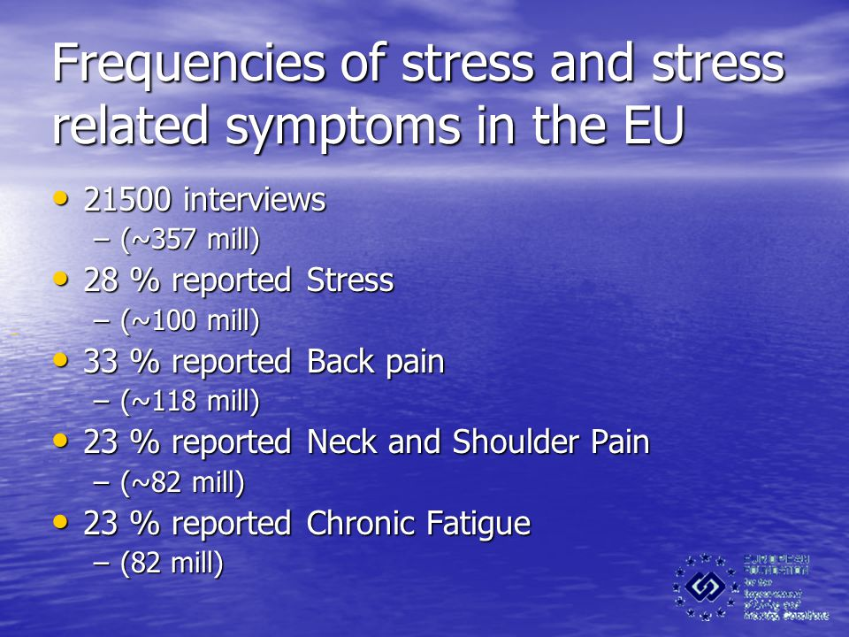 Frequencies of stress and stress related symptoms in the EU