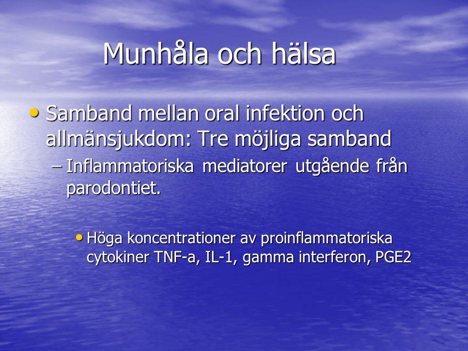 Munhåla och hälsa Samband mellan oral infektion och allmänsjukdom: Tre möjliga samband. Inflammatoriska mediatorer utgående från parodontiet.