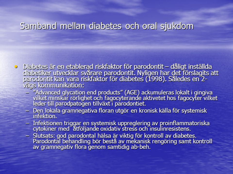 Samband mellan diabetes och oral sjukdom