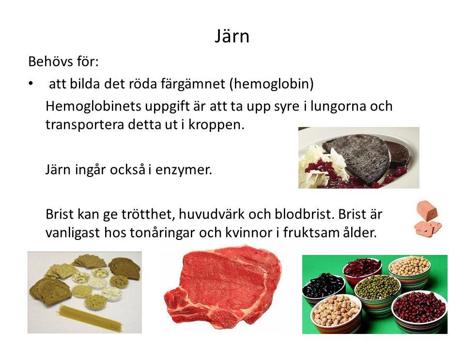 Järn Behövs för: att bilda det röda färgämnet (hemoglobin)