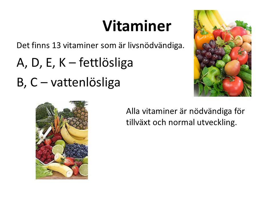 Vitaminer A, D, E, K – fettlösliga B, C – vattenlösliga