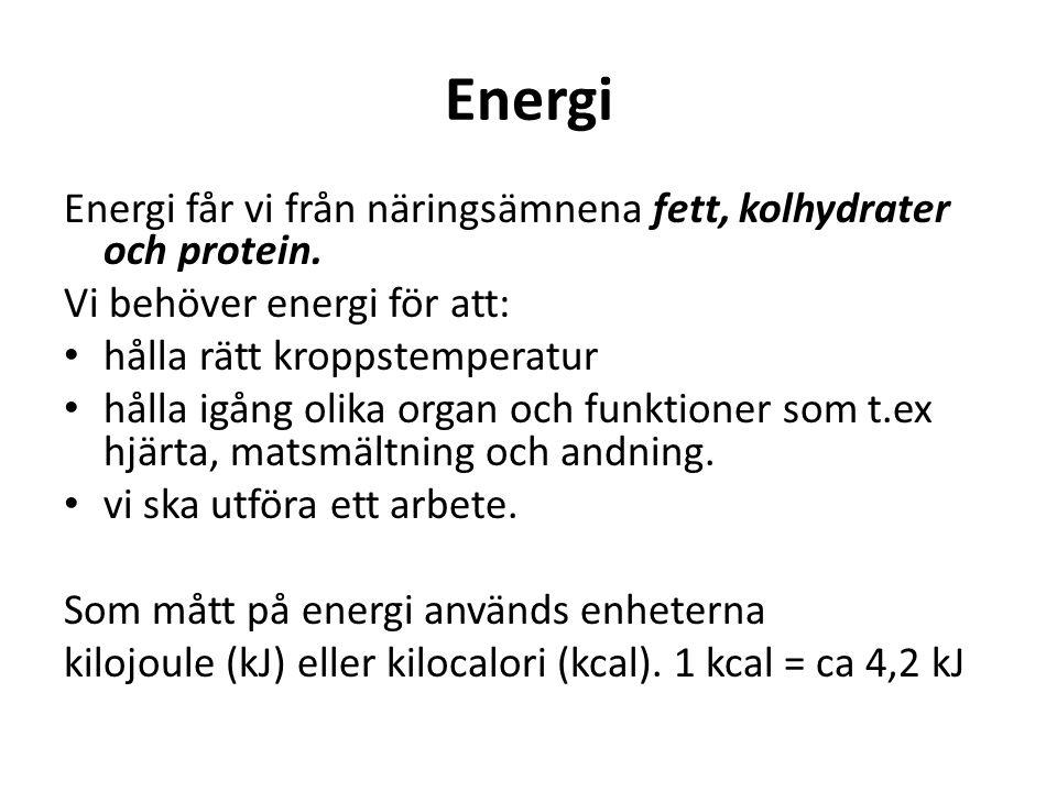 Energi Energi får vi från näringsämnena fett, kolhydrater och protein.