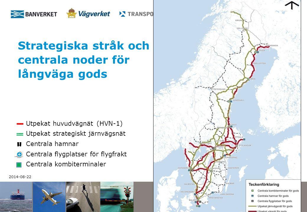 Strategiska stråk och centrala noder för långväga gods
