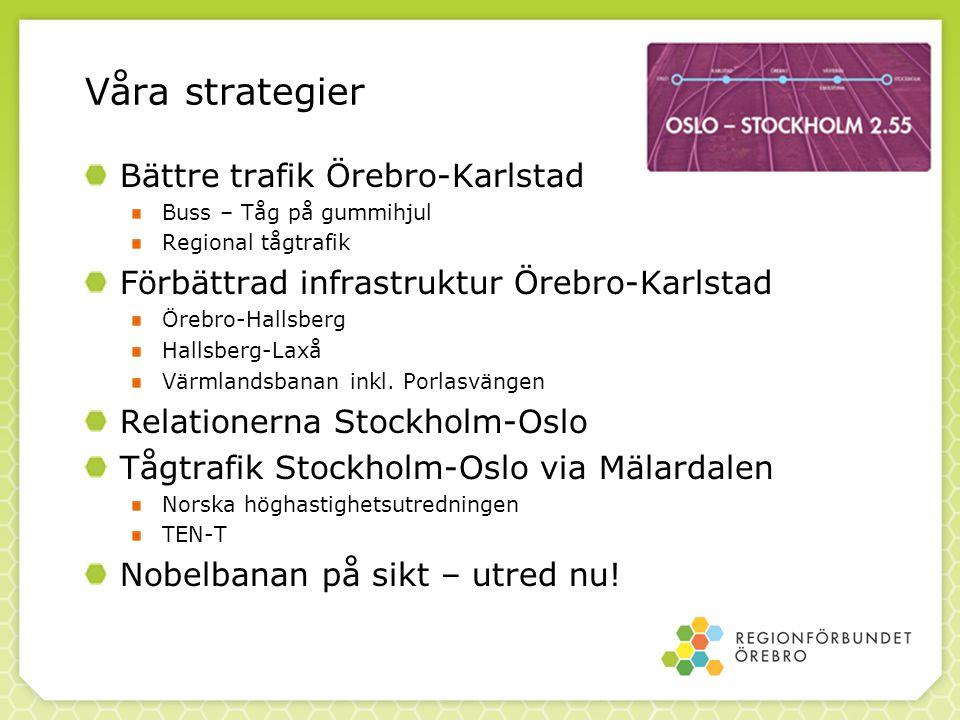 Våra strategier Bättre trafik Örebro-Karlstad