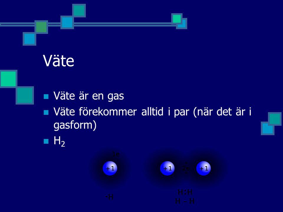 Väte Väte är en gas Väte förekommer alltid i par (när det är i gasform) H2