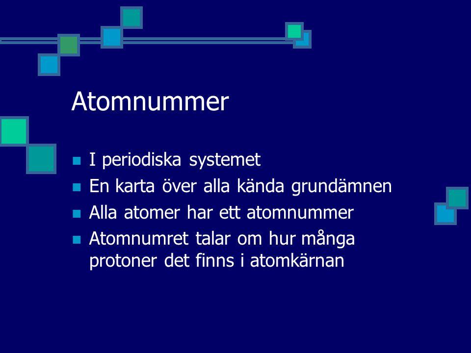 Atomnummer I periodiska systemet En karta över alla kända grundämnen