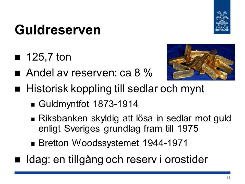 Guldreserven 125,7 ton Andel av reserven: ca 8 %