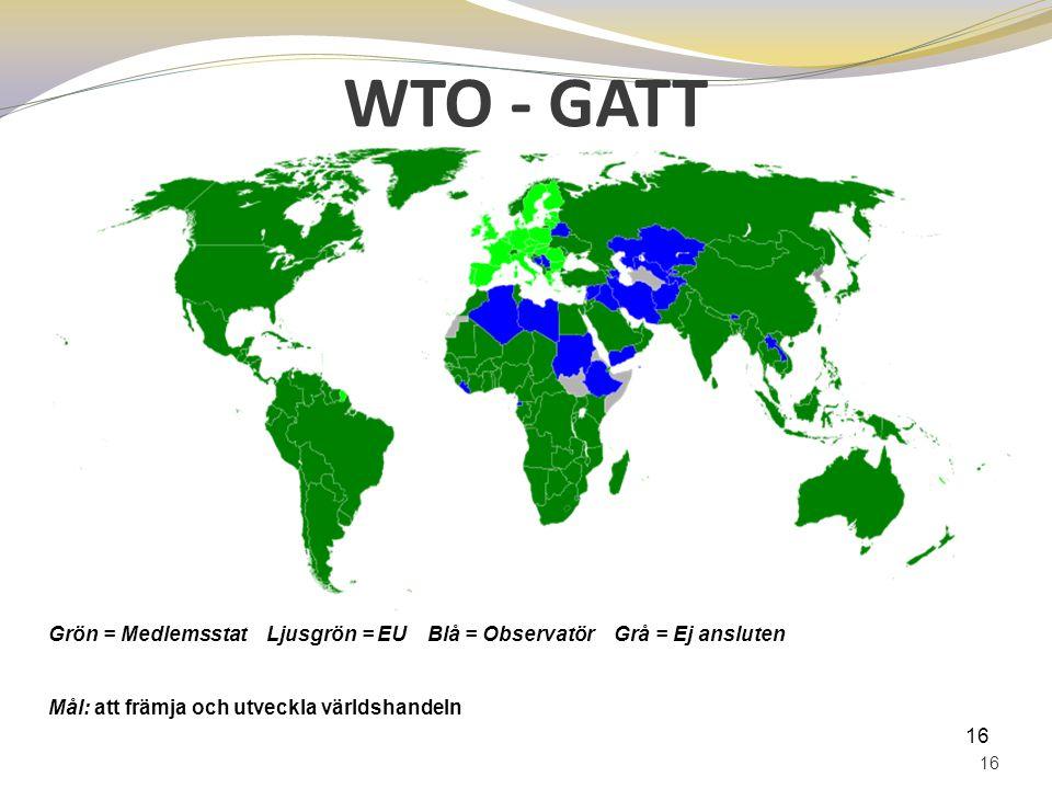 WTO - GATT Grön = Medlemsstat Ljusgrön = EU Blå = Observatör Grå = Ej ansluten. Mål: att främja och utveckla världshandeln.