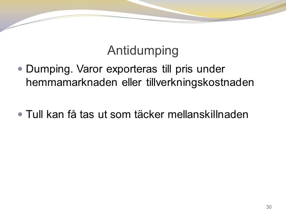 Antidumping Dumping. Varor exporteras till pris under hemmamarknaden eller tillverkningskostnaden.