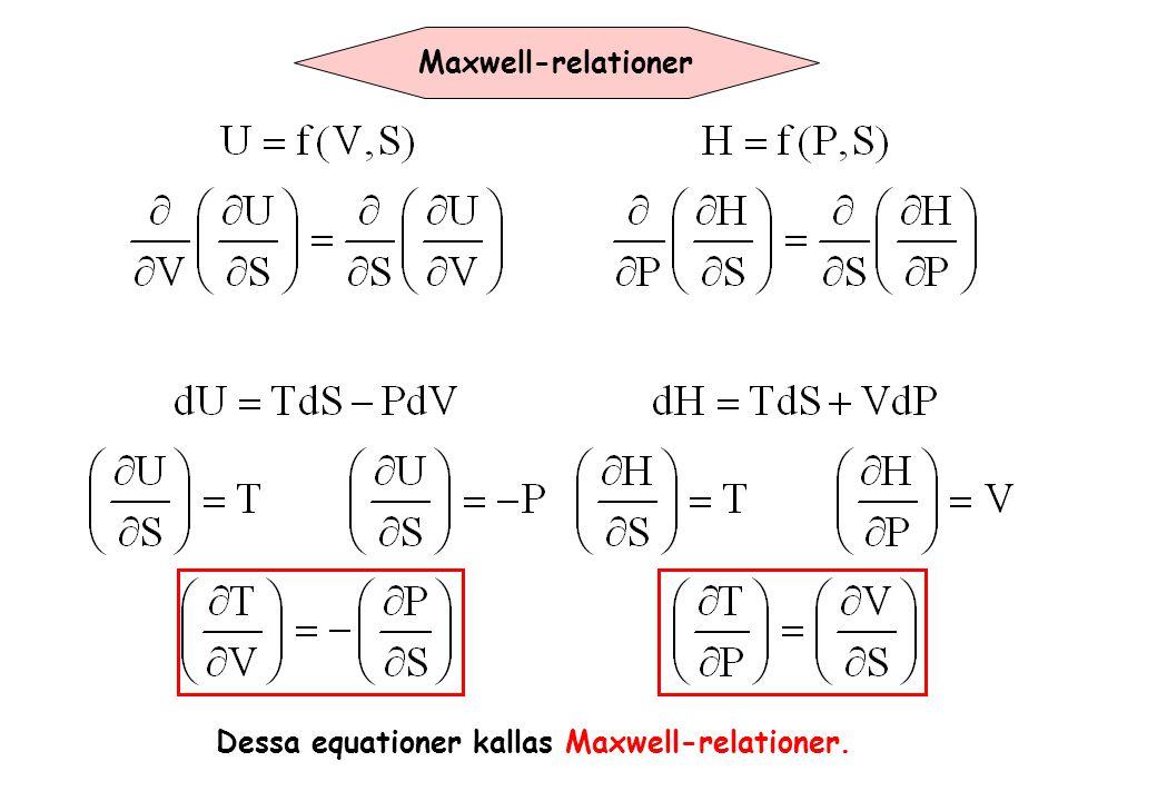 Maxwell-relationer Dessa equationer kallas Maxwell-relationer.
