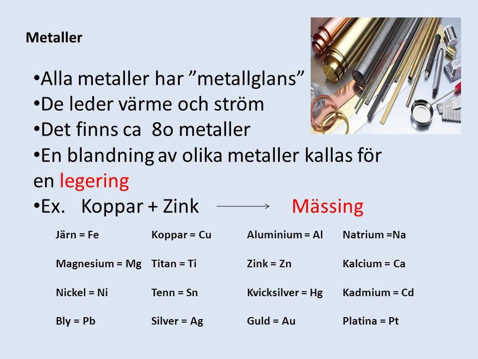 Alla metaller har metallglans De leder värme och ström