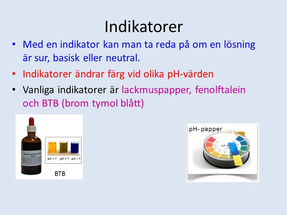 Indikatorer Med en indikator kan man ta reda på om en lösning är sur, basisk eller neutral. Indikatorer ändrar färg vid olika pH-värden.