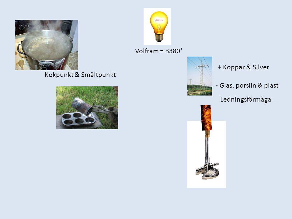 Kokpunkt & Smältpunkt Volfram = 3380˚ + Koppar & Silver - Glas, porslin & plast Ledningsförmåga