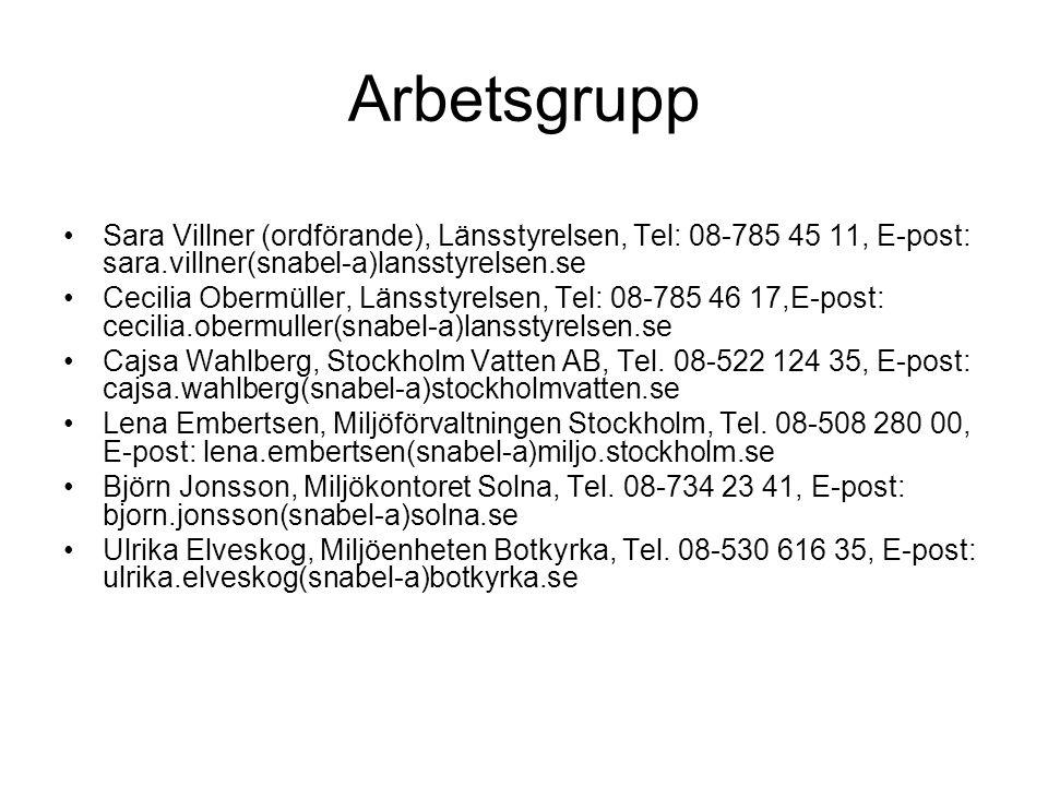 Arbetsgrupp Sara Villner (ordförande), Länsstyrelsen, Tel: 08-785 45 11, E-post: sara.villner(snabel-a)lansstyrelsen.se.