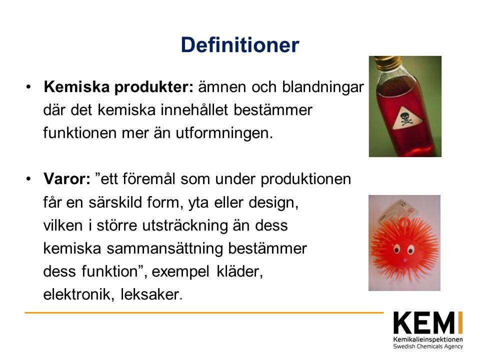 Definitioner Kemiska produkter: ämnen och blandningar