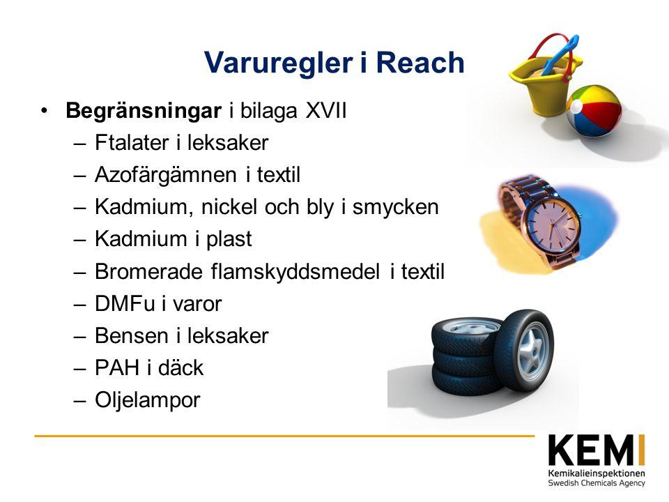 Varuregler i Reach Begränsningar i bilaga XVII Ftalater i leksaker