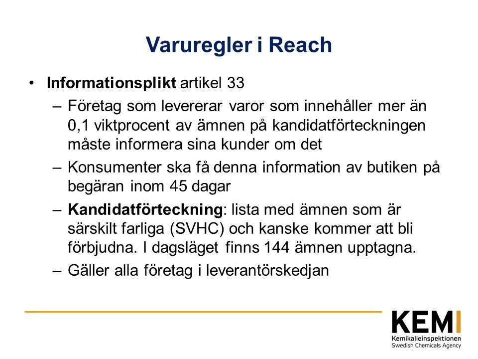 Varuregler i Reach Informationsplikt artikel 33