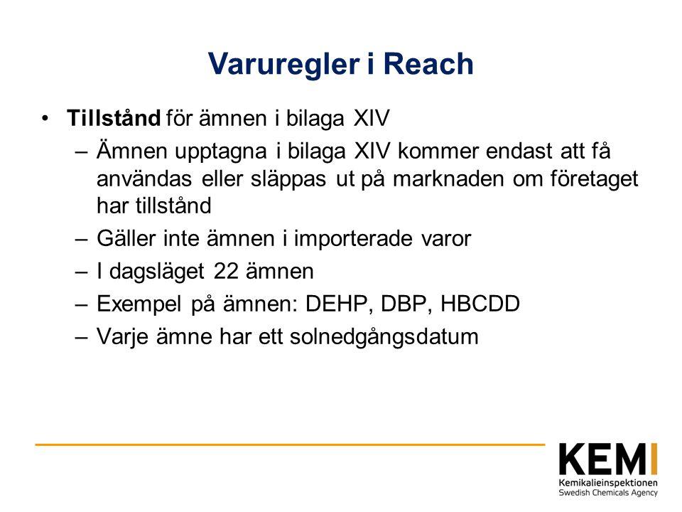 Varuregler i Reach Tillstånd för ämnen i bilaga XIV