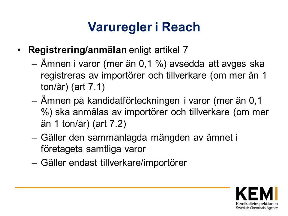 Varuregler i Reach Registrering/anmälan enligt artikel 7