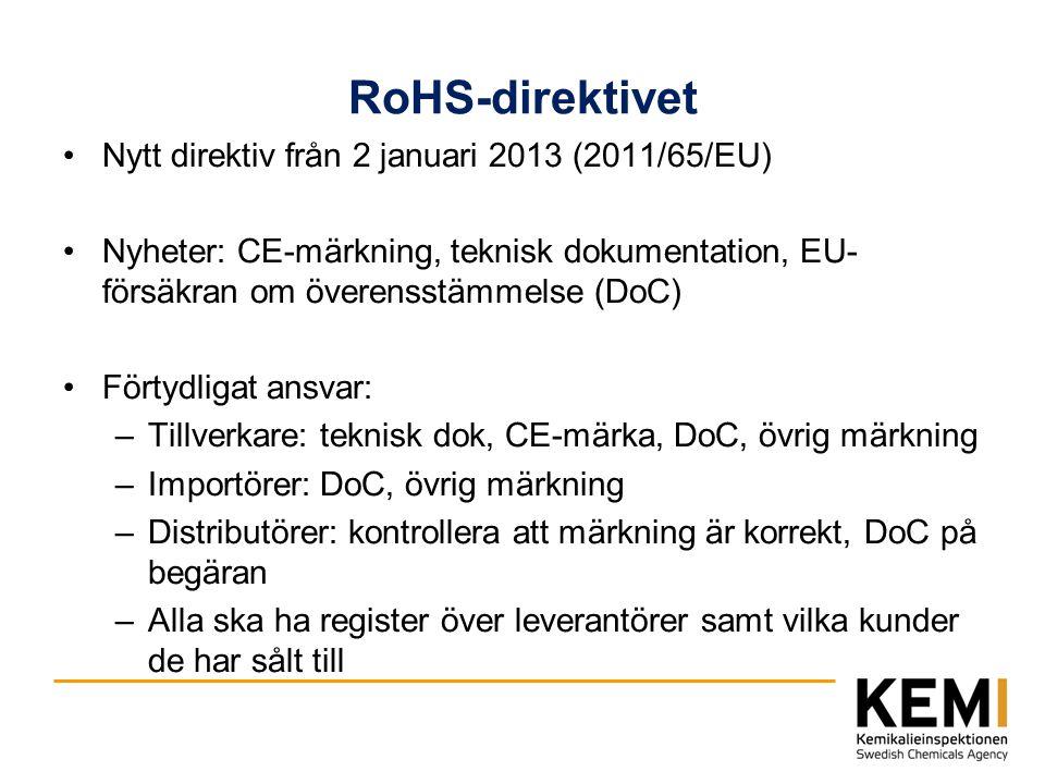 RoHS-direktivet Nytt direktiv från 2 januari 2013 (2011/65/EU)