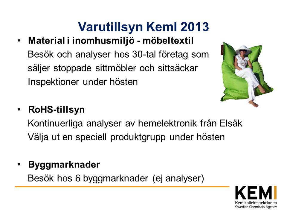 Varutillsyn KemI 2013 Material i inomhusmiljö - möbeltextil