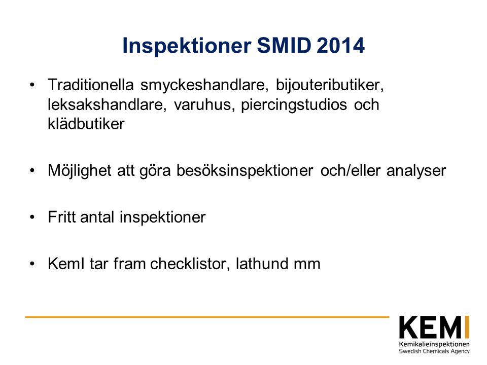 Inspektioner SMID 2014 Traditionella smyckeshandlare, bijouteributiker, leksakshandlare, varuhus, piercingstudios och klädbutiker.