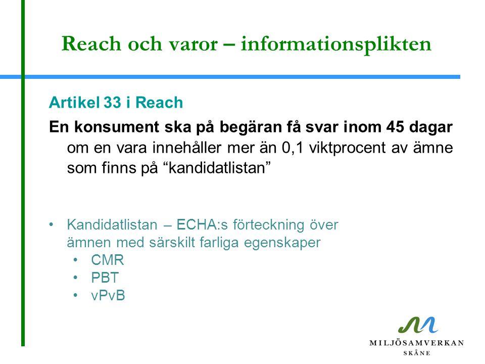 Reach och varor – informationsplikten