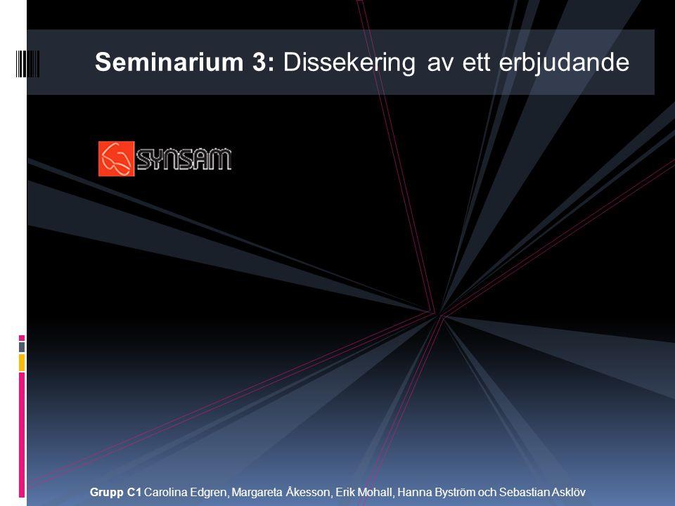 Seminarium 3: Dissekering av ett erbjudande