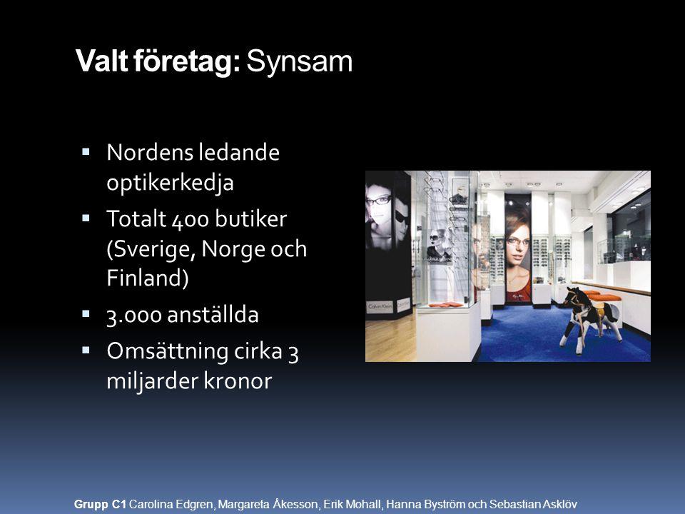 Valt företag: Synsam Nordens ledande optikerkedja