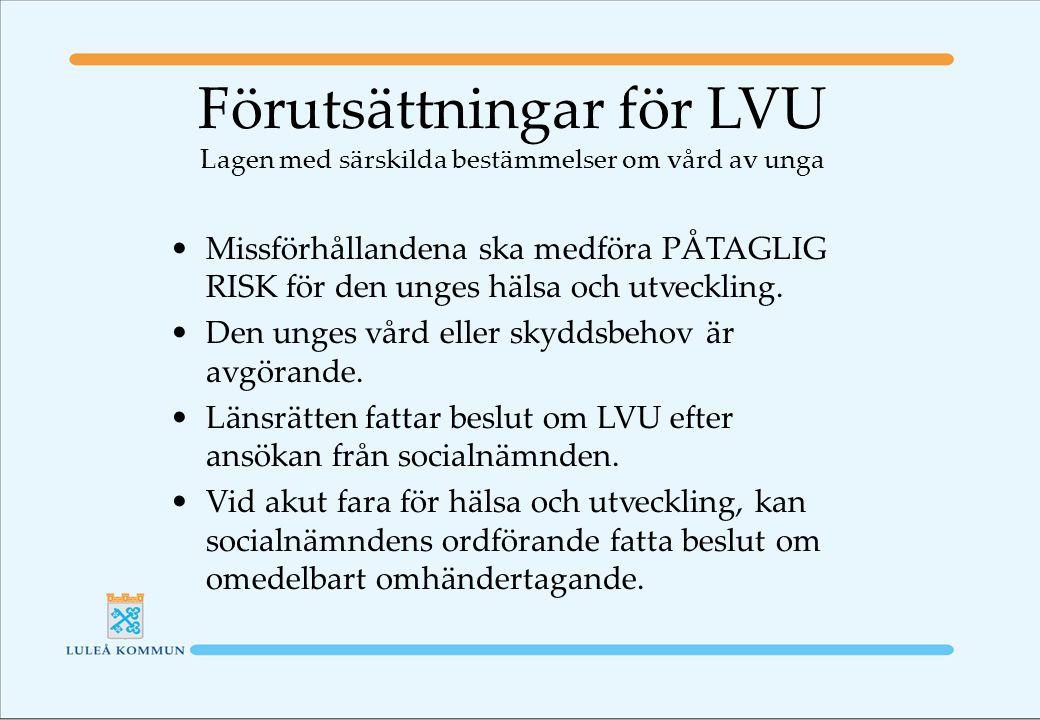 Förutsättningar för LVU Lagen med särskilda bestämmelser om vård av unga