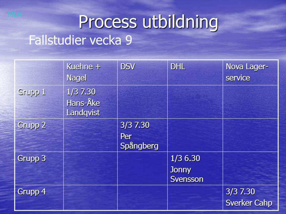 Process utbildning Fallstudier vecka 9 Kuehne + Nagel DSV DHL