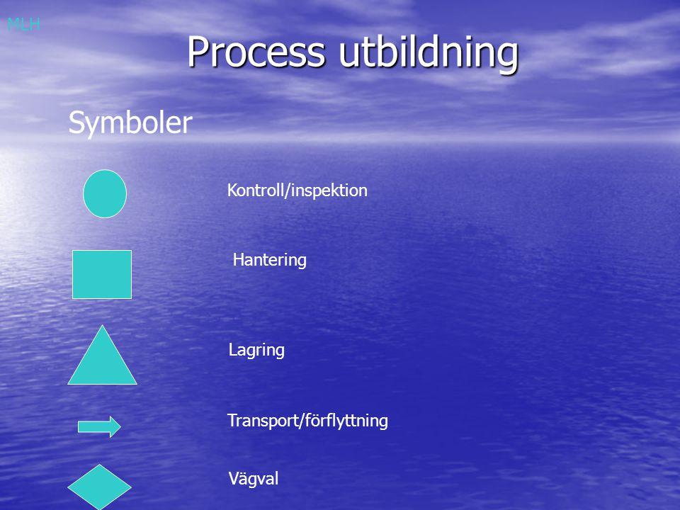 Process utbildning Symboler MLH Kontroll/inspektion Hantering Lagring