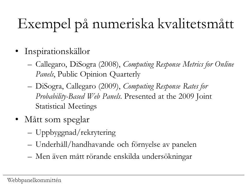 Exempel på numeriska kvalitetsmått