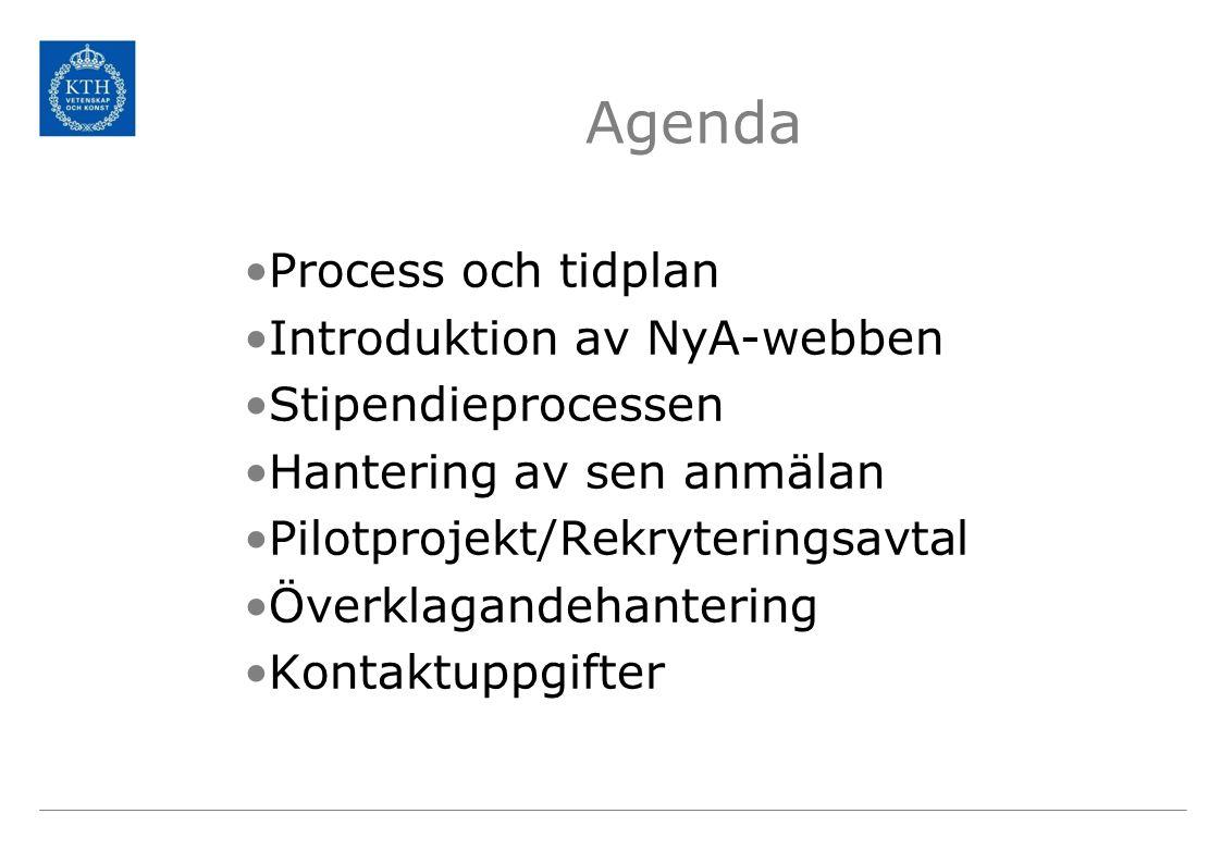 Agenda Process och tidplan Introduktion av NyA-webben