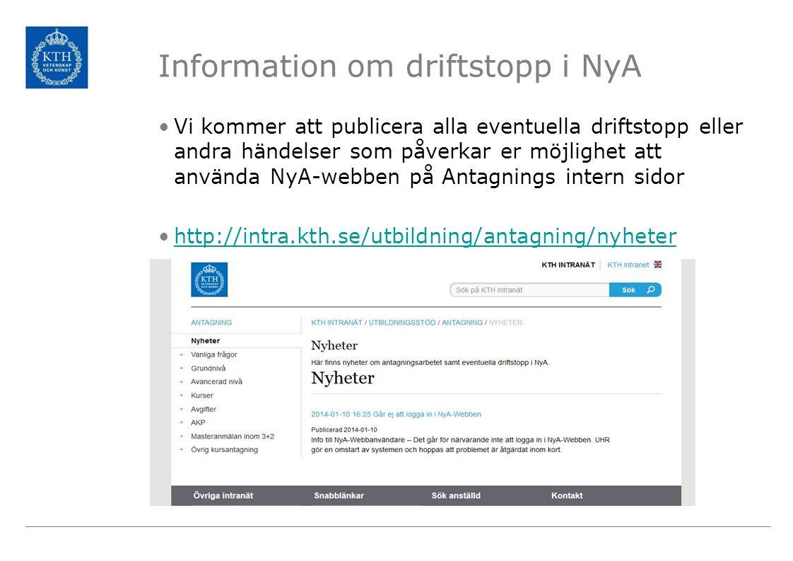 Information om driftstopp i NyA