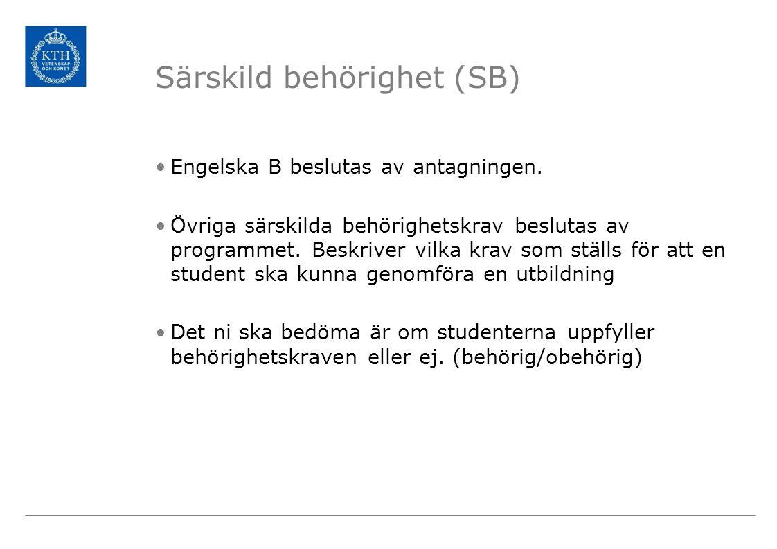 Särskild behörighet (SB)
