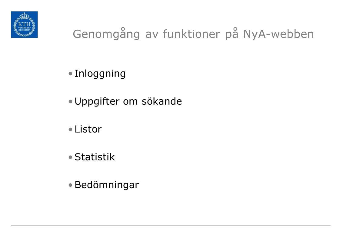 Genomgång av funktioner på NyA-webben