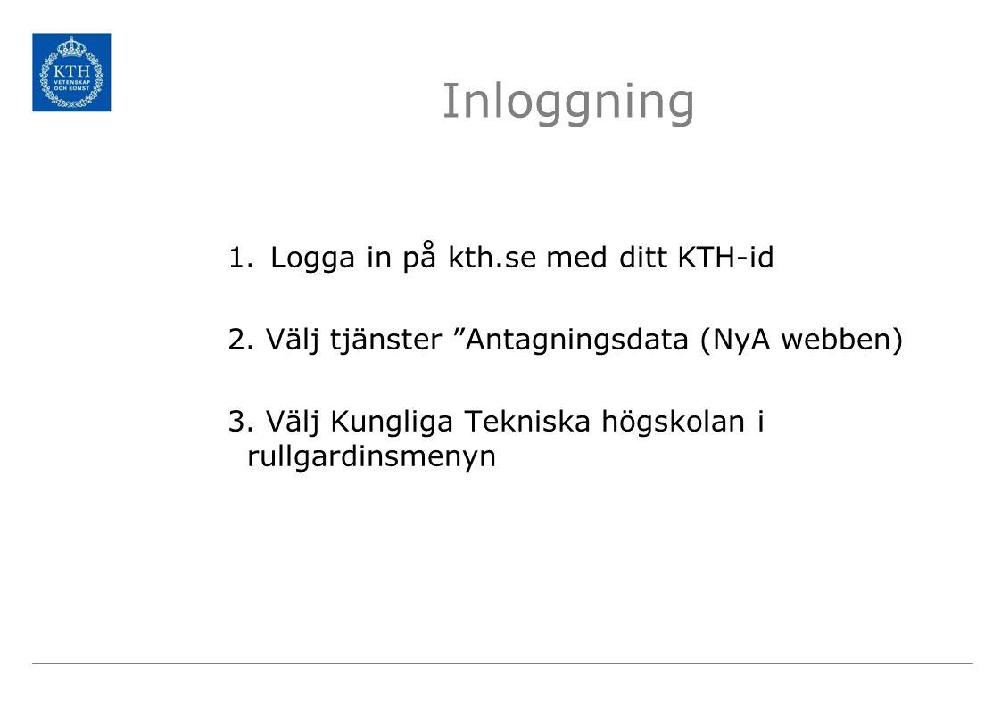 Inloggning Logga in på kth.se med ditt KTH-id