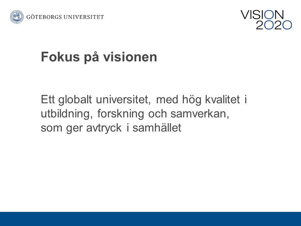 Fokus på visionen Ett globalt universitet, med hög kvalitet i utbildning, forskning och samverkan, som ger avtryck i samhället.
