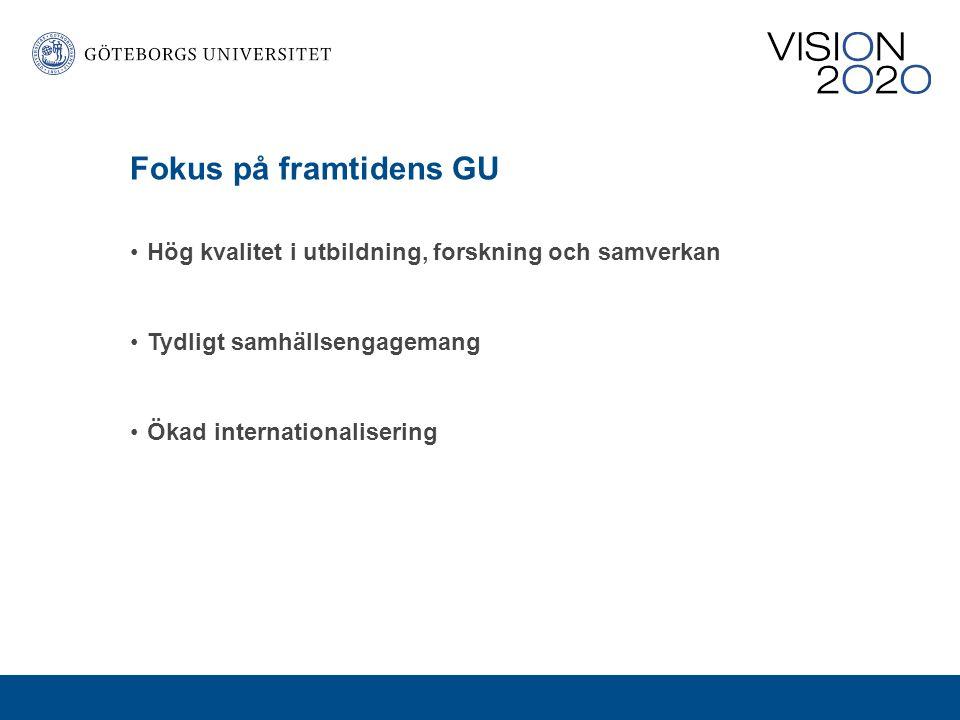 Fokus på framtidens GU Hög kvalitet i utbildning, forskning och samverkan. Tydligt samhällsengagemang.