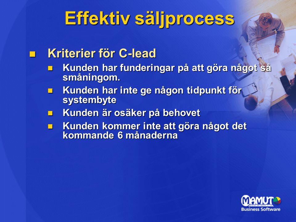 Effektiv säljprocess Kriterier för C-lead