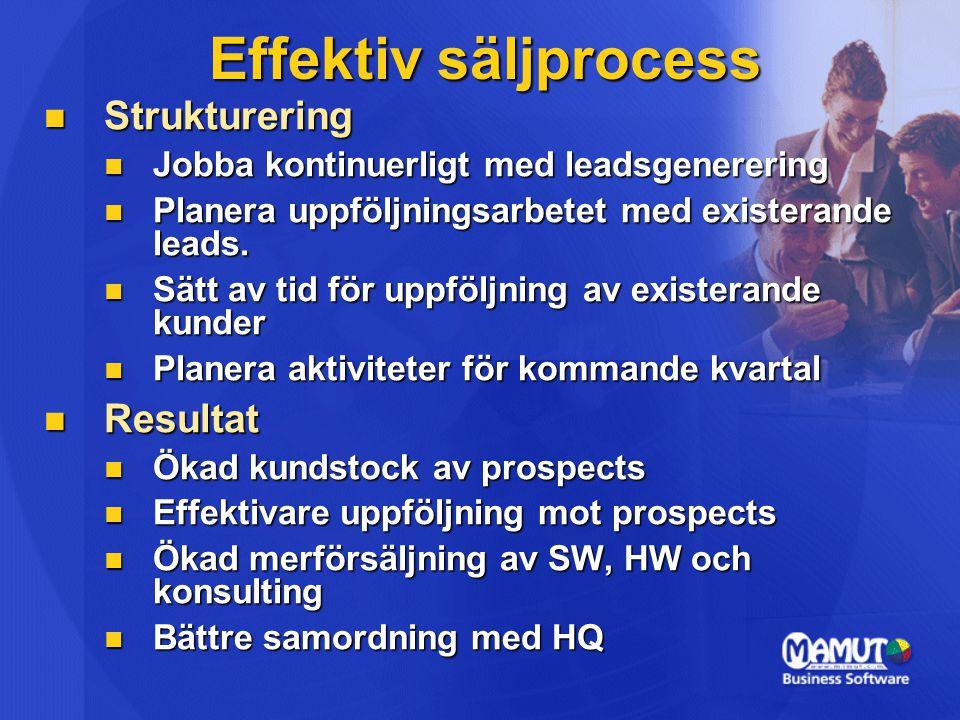 Effektiv säljprocess Strukturering Resultat