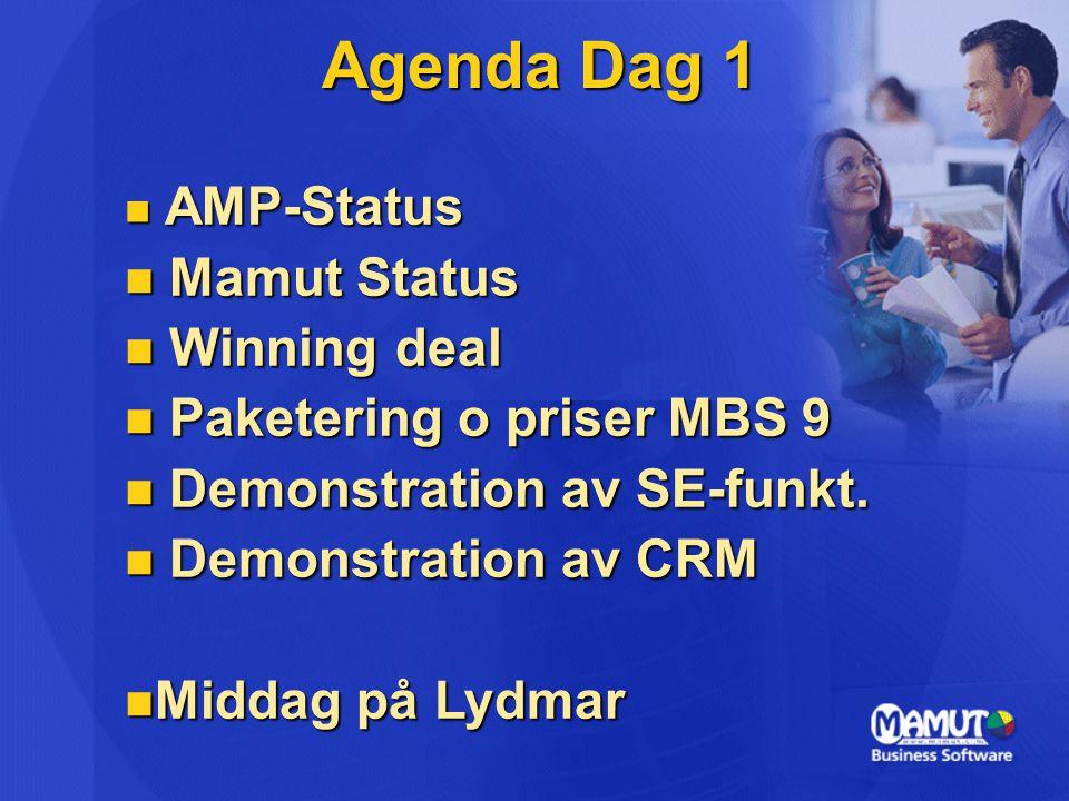 Agenda Dag 1 Mamut Status Winning deal Paketering o priser MBS 9