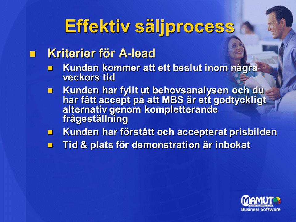 Effektiv säljprocess Kriterier för A-lead